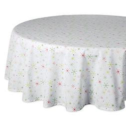 """DII 70"""" Round Cotton Tablecloth, Christmas Stars - Perfect f"""