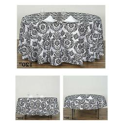 Round Flocking Damask Tablecloths For Wedding Party Banquet