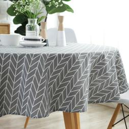 US Modern Tablecloth Cotton Linen Round Table Cover Kitchen