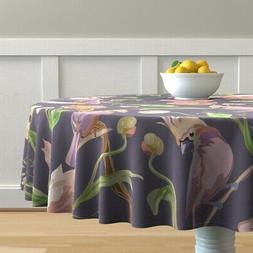 Round Tablecloth Sweet Birds Floral Watercolor Dark Puple Co