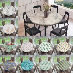 Round Tablecloth Waterproof Elastic Edge Table Cover Cloth H