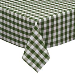 Sage & White Cotton Rich Checkered Kitchen Tablecloth: Gingh
