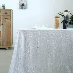 GFCC Sequin Wedding Tablecloth, Pack Of 6 Silver 50'x50' Sea