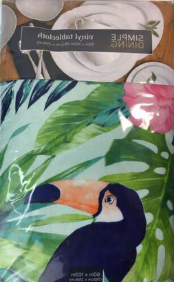 Simple Dining Vinyl Flannel Back Tablecloth Tropical Birds A