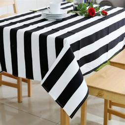 Simple Modern Black and White Striped Canvas Tablecloth Dini