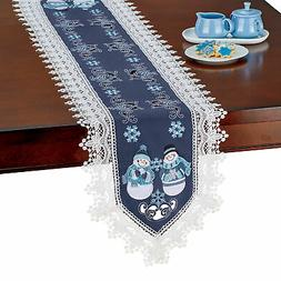 Collections Etc Snowmen Lace Table Topper RUNNER
