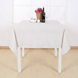 Deconovo Solid Water Resistant Table Cloth Faux Linen Polyes