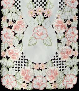Spring Embroidered Rose Daisy Floral Placemat Table Runner T