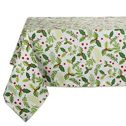 """DII 52x52"""" Square Cotton Tablecloth, Boughs of Holly - Perfe"""