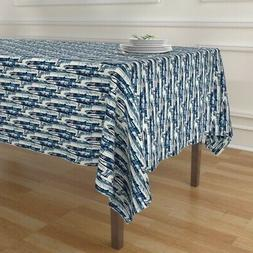 Tablecloth Abstract Denim Blue Watercolor Bohemian Painterly