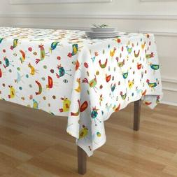 Tablecloth Chicken Hens Quirky Birds Rooster Eggs Happy Colo