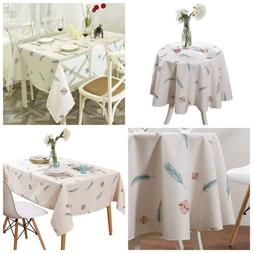 Tablecloth Rectangle&Round Waterproof Table Cover with Beige