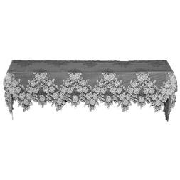 Heritage Lace Tea Rose 20-Inch by 90-Inch Mantle Scarf, Whit