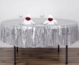 """TRLYC 120"""" Round Silver Sequin Table Cloth Wedding Party H"""