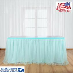 Tulle Table Skirt Tableware Tablecloth for Rectangle & Round