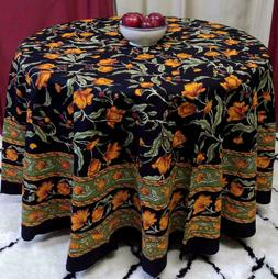 Cotton Floral 90 inches Round Tablecloth Black Amber Olive R