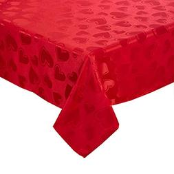 Valentine's Day Tablecloth Red Hearts and Scroll Damask Fa