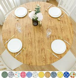 Vinyl Tablecloth Round Fitted Elastic Flannel Backing Cedar