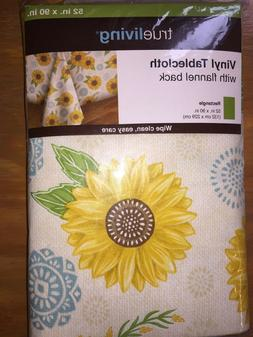 """Vinyl Tablecloth w Flannel Backing Sunflowers Rectangle  52"""""""