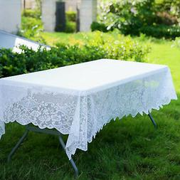 WHITE 60x108 RECTANGLE Floral LACE TABLECLOTH Wedding Party