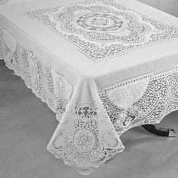 "White Lace Tablecloth Cotton Blend Canterbury 70"" X 90"" and"