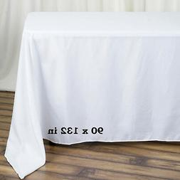 "WHITE Polyester 90x132"" Rectangle TABLECLOTHS Wedding Party"