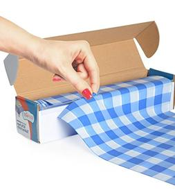 Blue Gingham Picnic / Party Plastic Tablecloth Roll, Disposa