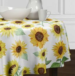 Yellow, Green & White Sunflower Round Tablecloths Dining Roo